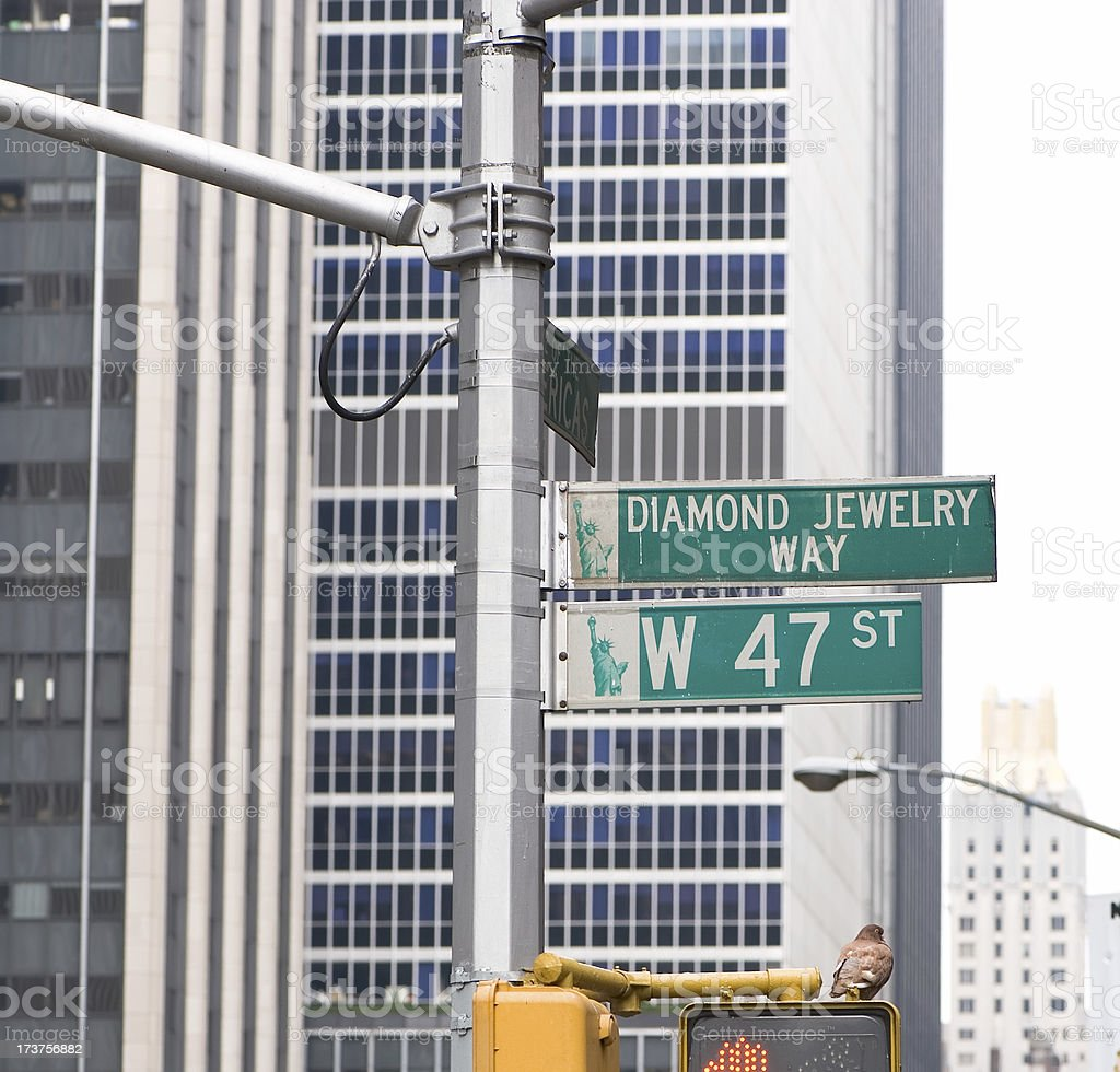 Diamond jewelery way street sign stock photo
