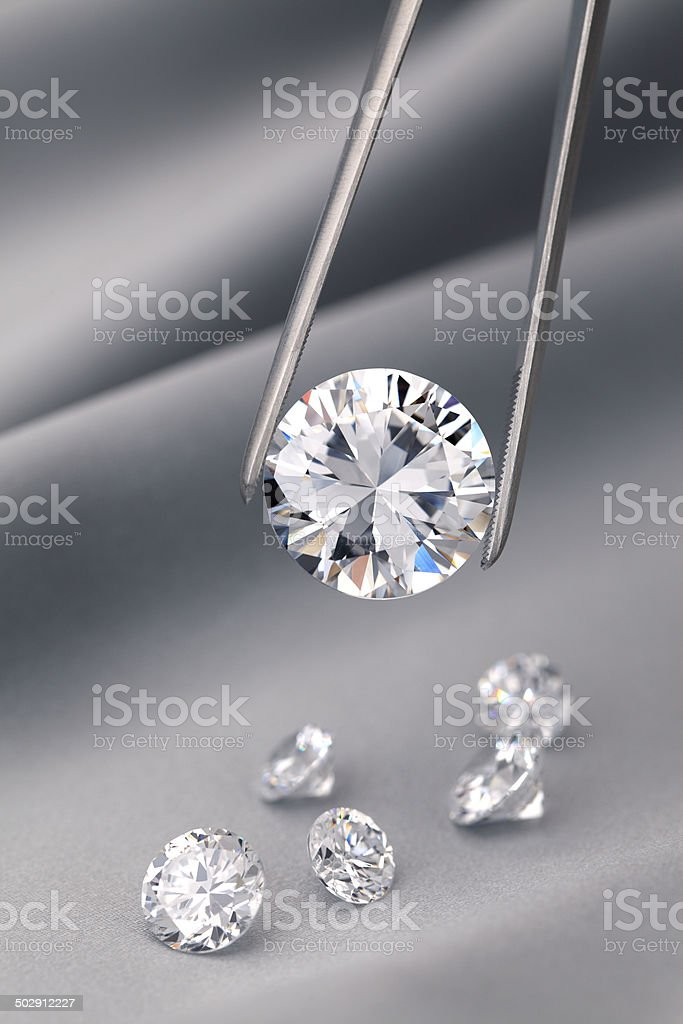 Diamond jewelry holding stock photo