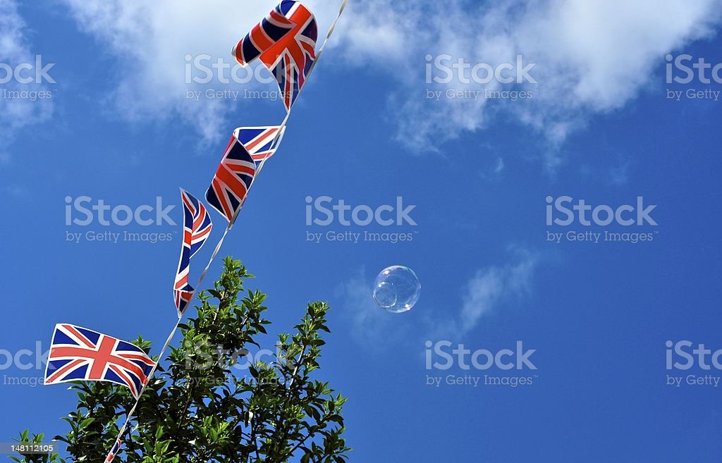 Diamond Jubilee Flapping Flags stock photo