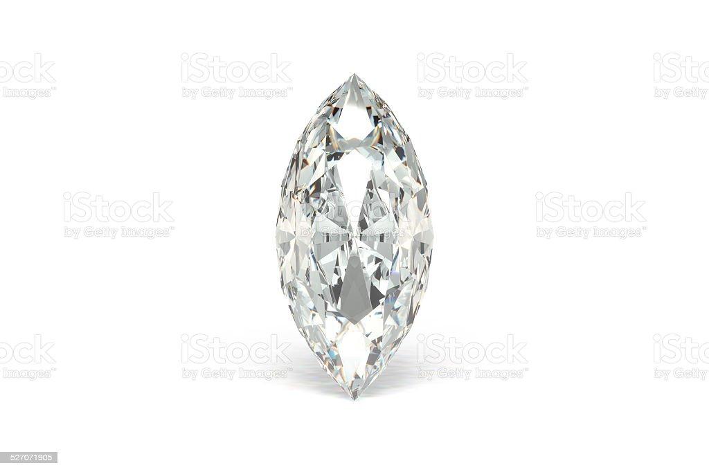 Diamond Marquise, White Background stock photo