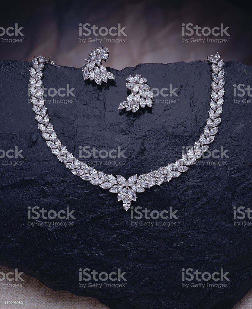 Diamond Necklace and Earring Set stock photo