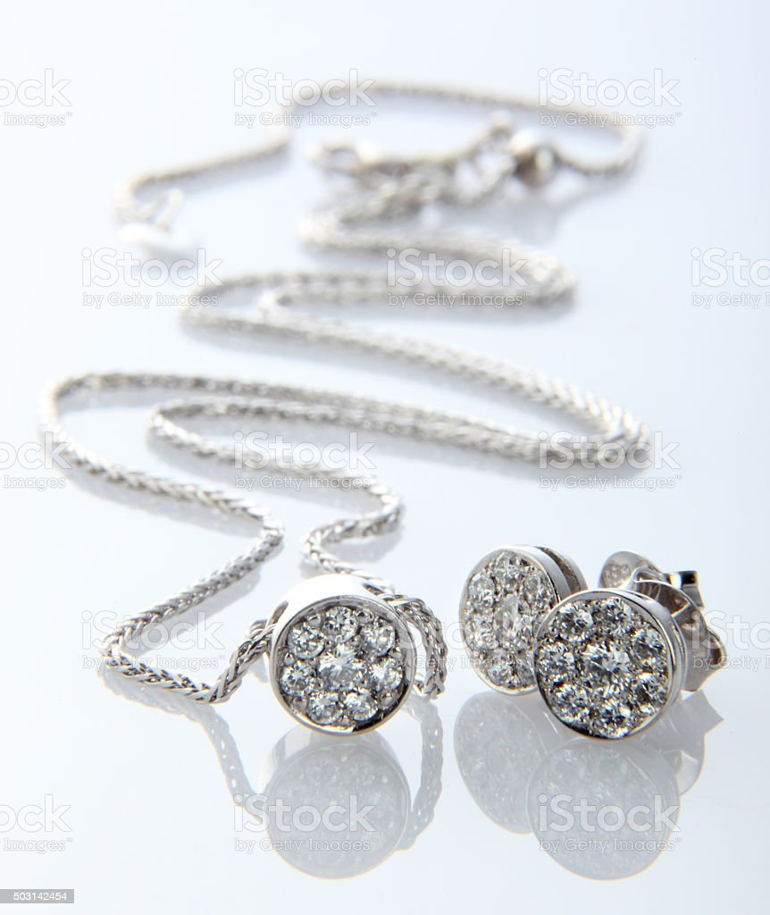 Diamond Necklace and Earrings stock photo
