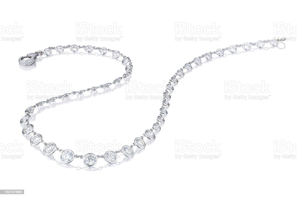 A diamond necklace on a white background stock photo