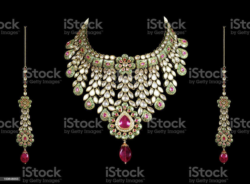 diamond necklace with ear ring royalty-free stock photo