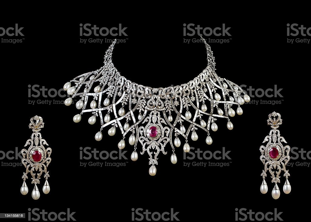 diamond necklace with earring royalty-free stock photo