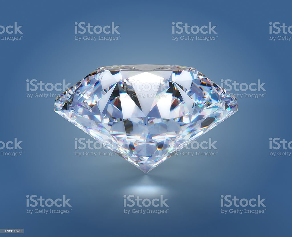 Diamond on blue with clipping path royalty-free stock photo
