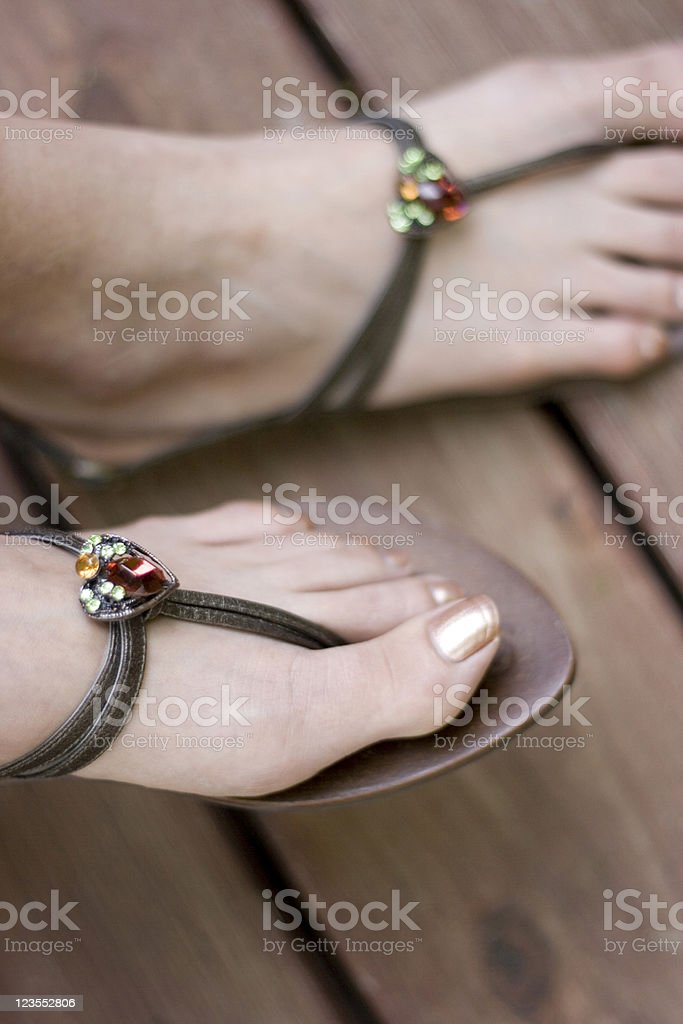 Diamond on the soles of her shoes royalty-free stock photo
