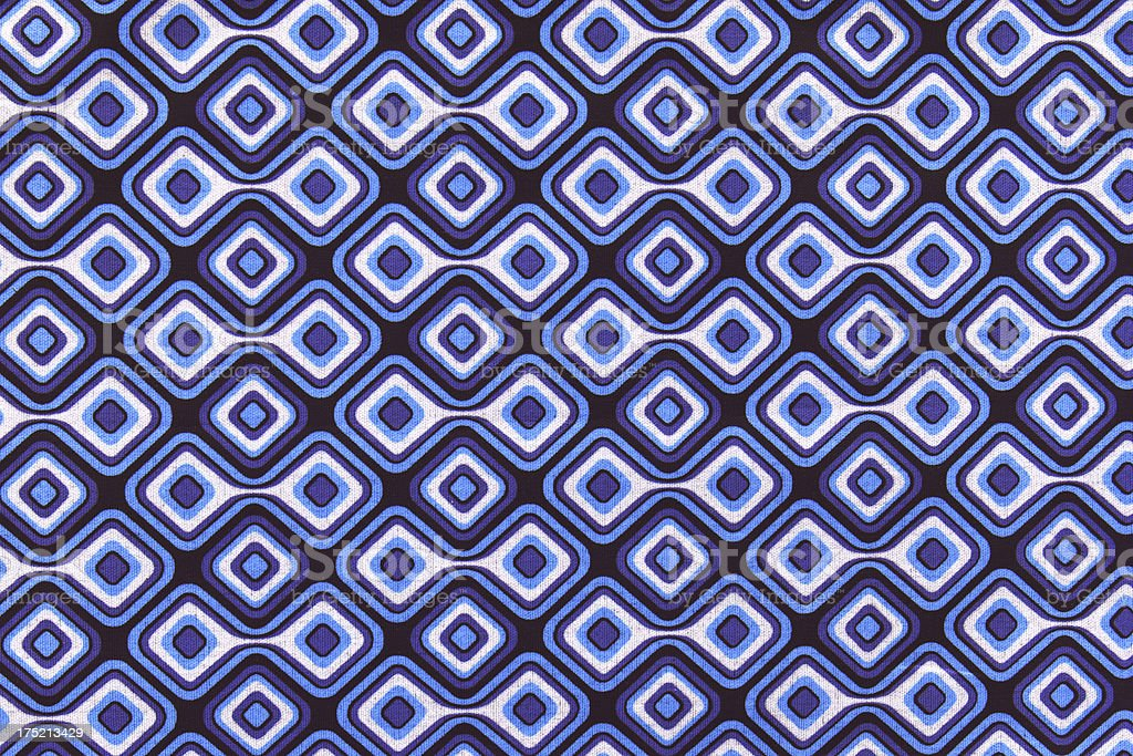 Diamond pattern fabric in blues and white royalty-free stock photo