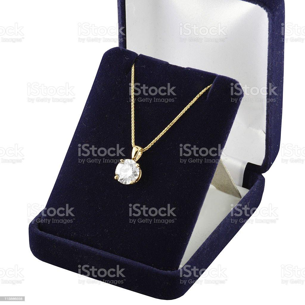 Diamond Pendant in Gift Box royalty-free stock photo