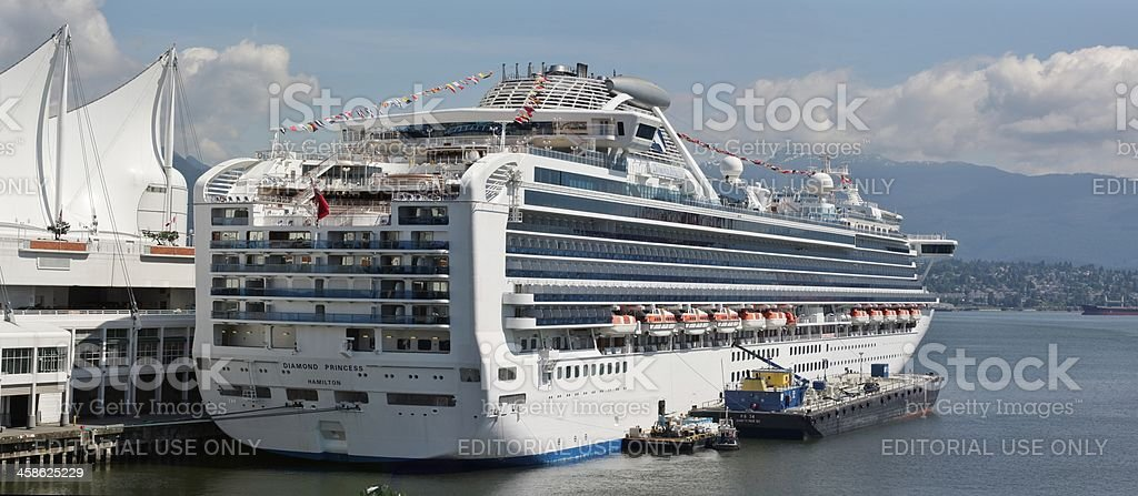 Diamond Princess Cruise Ship at Canada Place, Vancouver Harbour stock photo