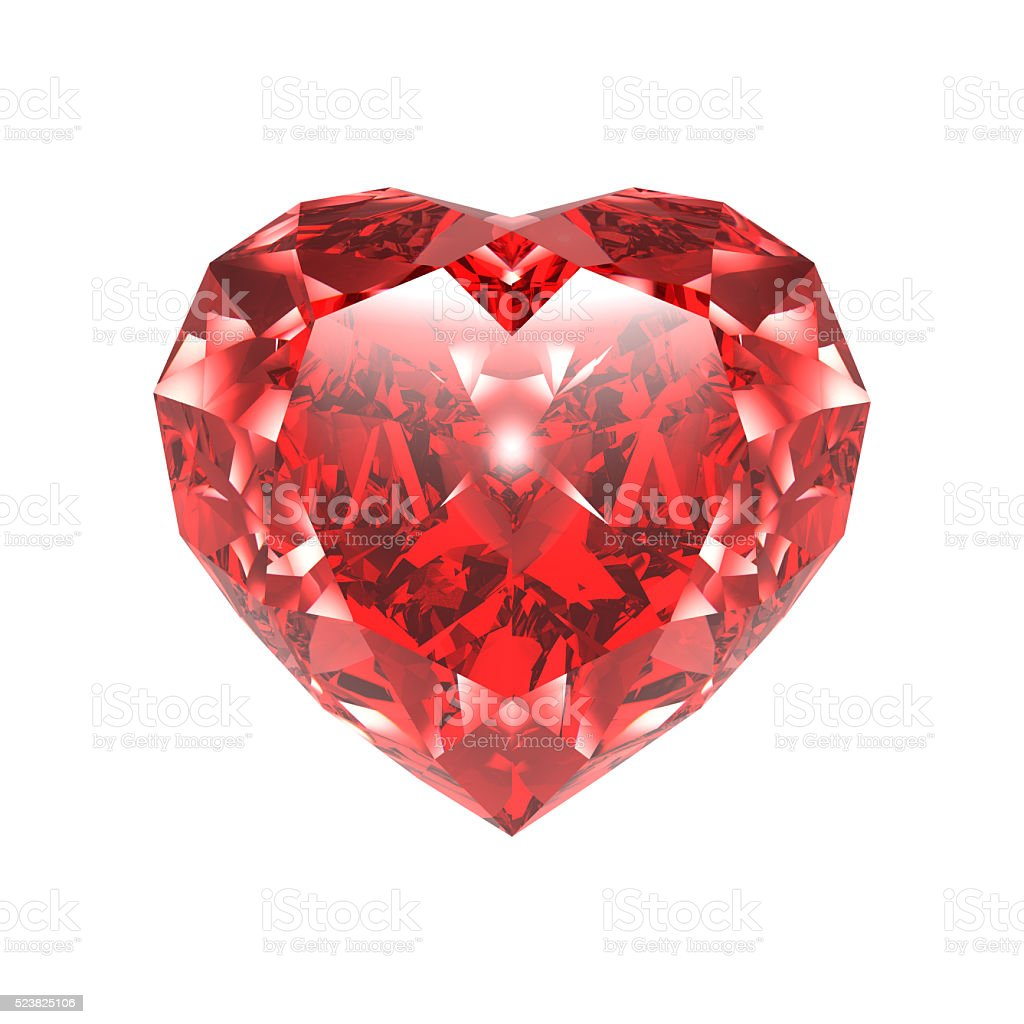 Diamond, Red Heart, isolated on White stock photo