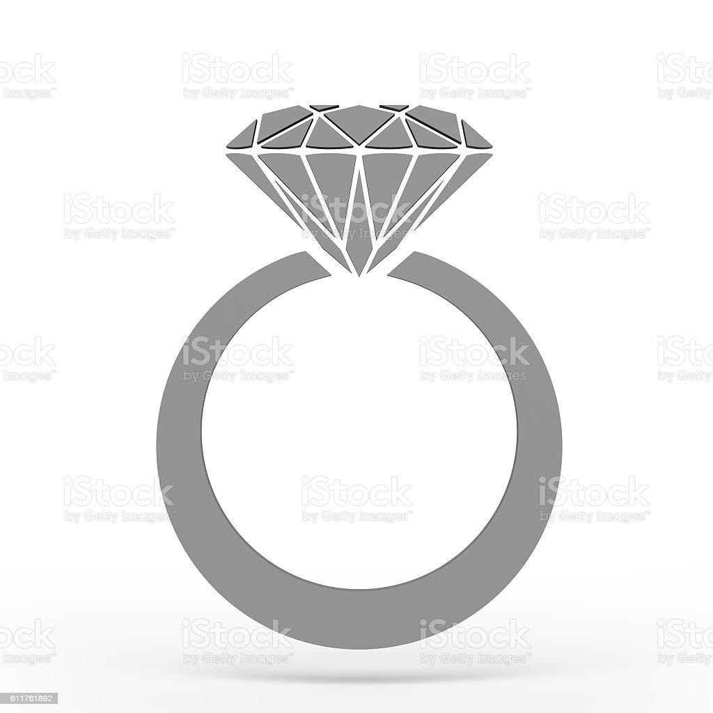 Diamond ring Icon JPEG. 3D rendering. stock photo