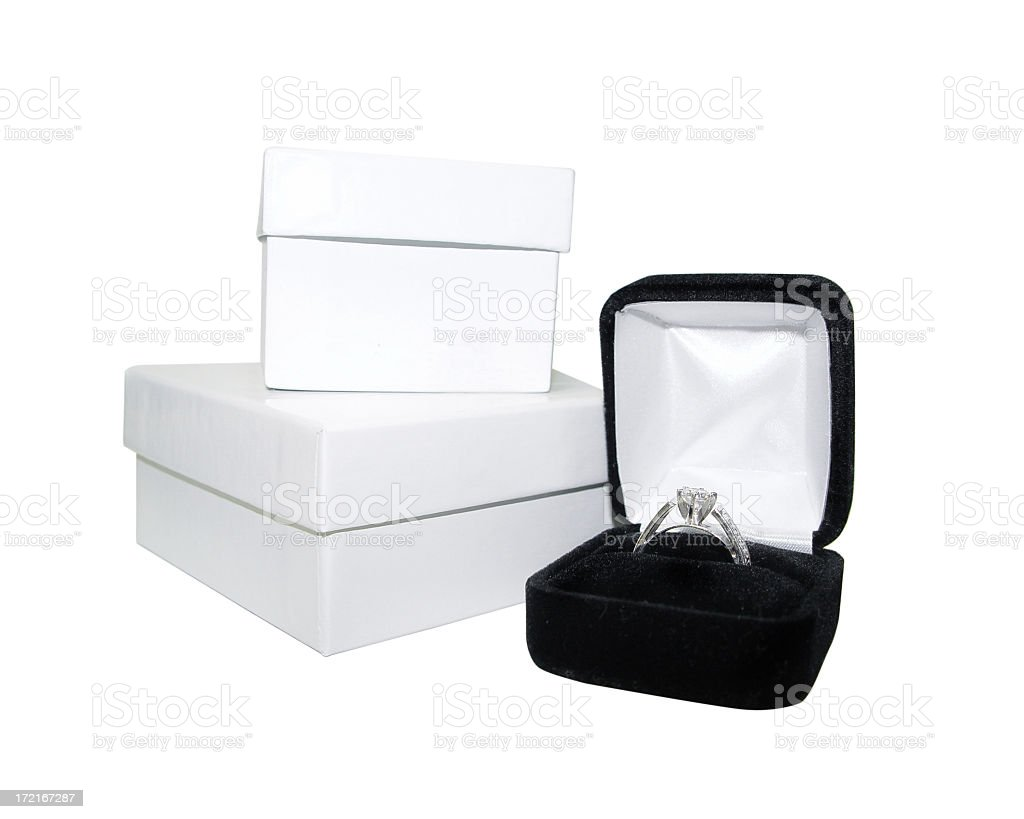 Diamond ring in box royalty-free stock photo