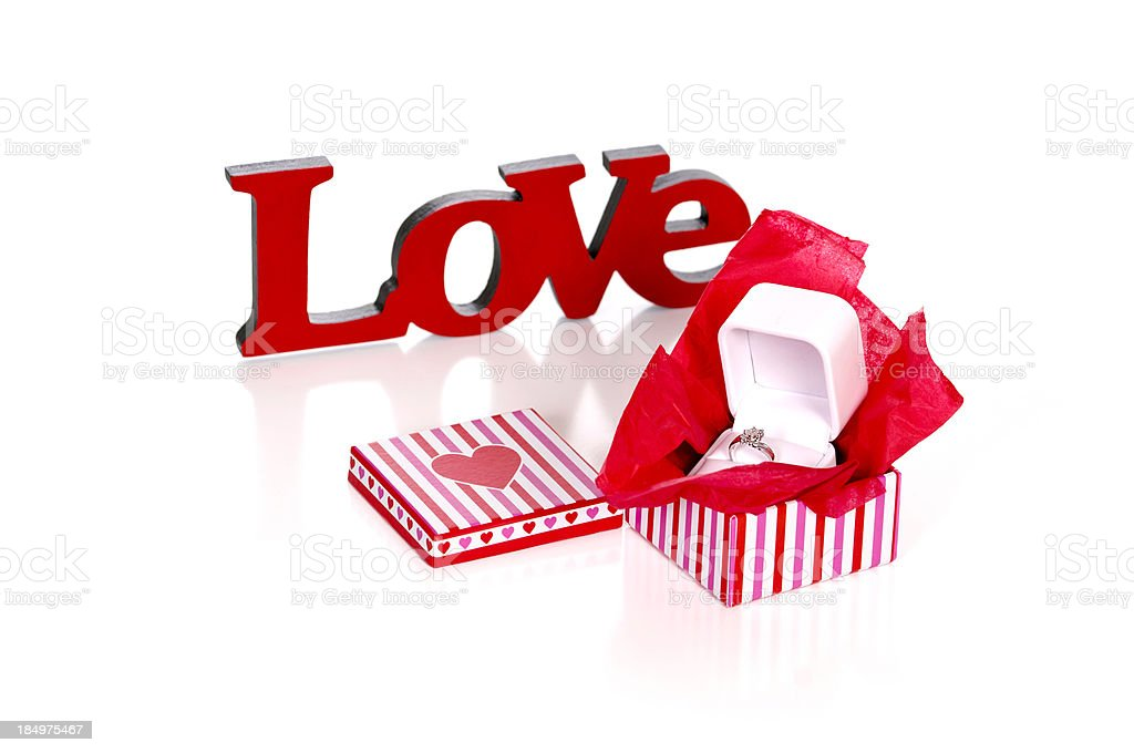Diamond Ring in Box with the Word LOVE stock photo