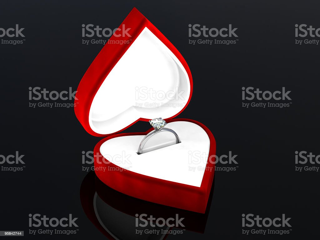 Diamond Ring in heart shaped box royalty-free stock photo
