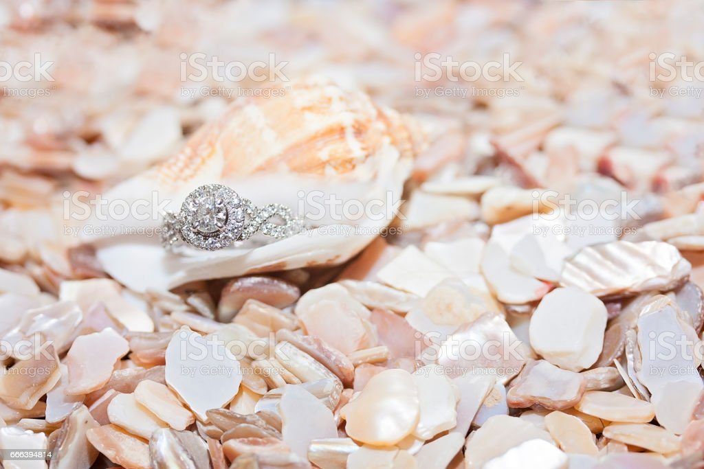 Diamond Ring in Peach Seashell stock photo