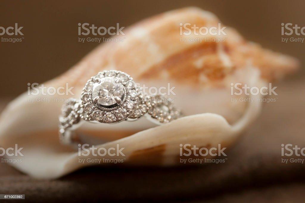 Diamond Ring inside Peach-Colored Shell stock photo
