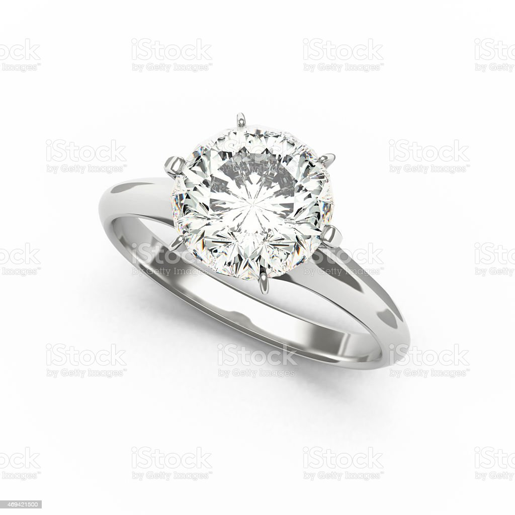 Diamond Ring, isolated on White Background stock photo