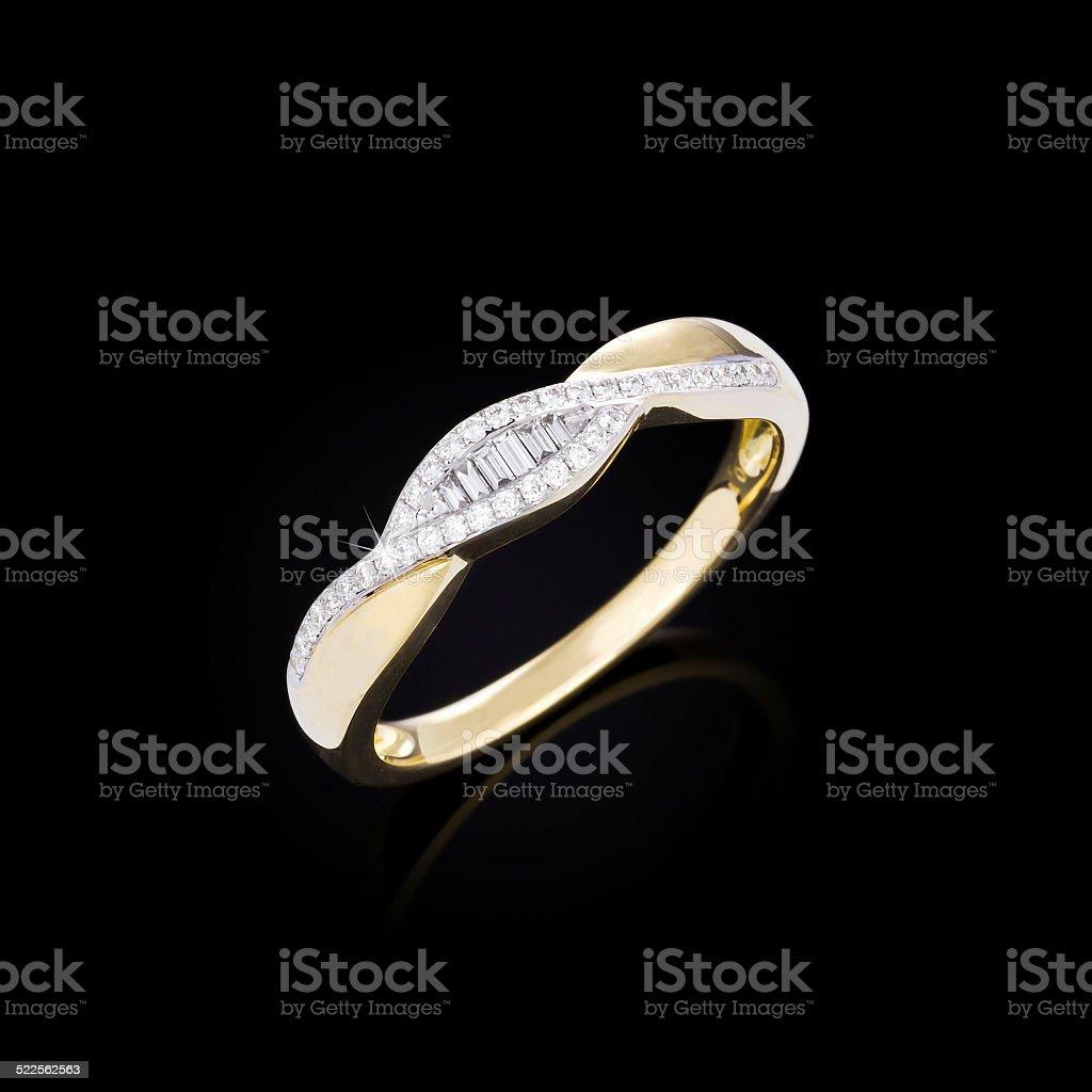 Diamond ring on black background stock photo