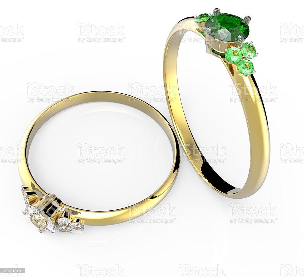 Diamond Rings. 3D illustration stock photo