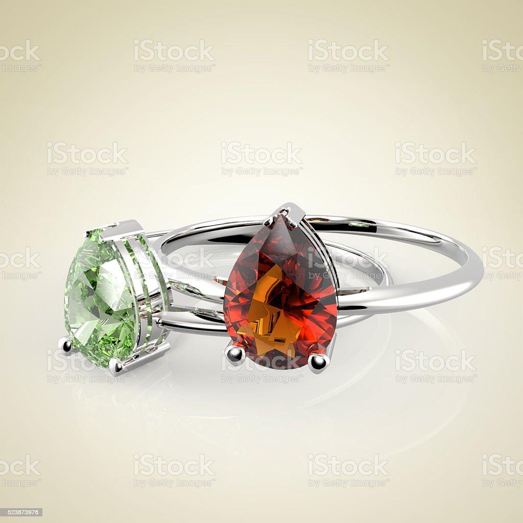 Diamond Rings. 3D rendering stock photo