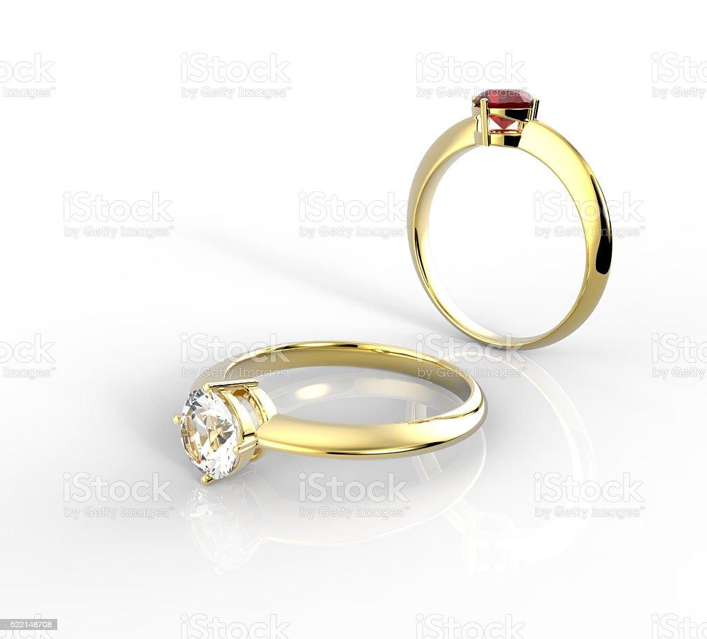 Diamond Rings. Isolated on white background. stock photo