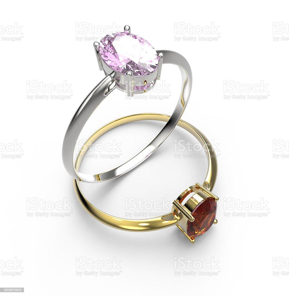 Diamond Rings. Isolated on white background stock photo
