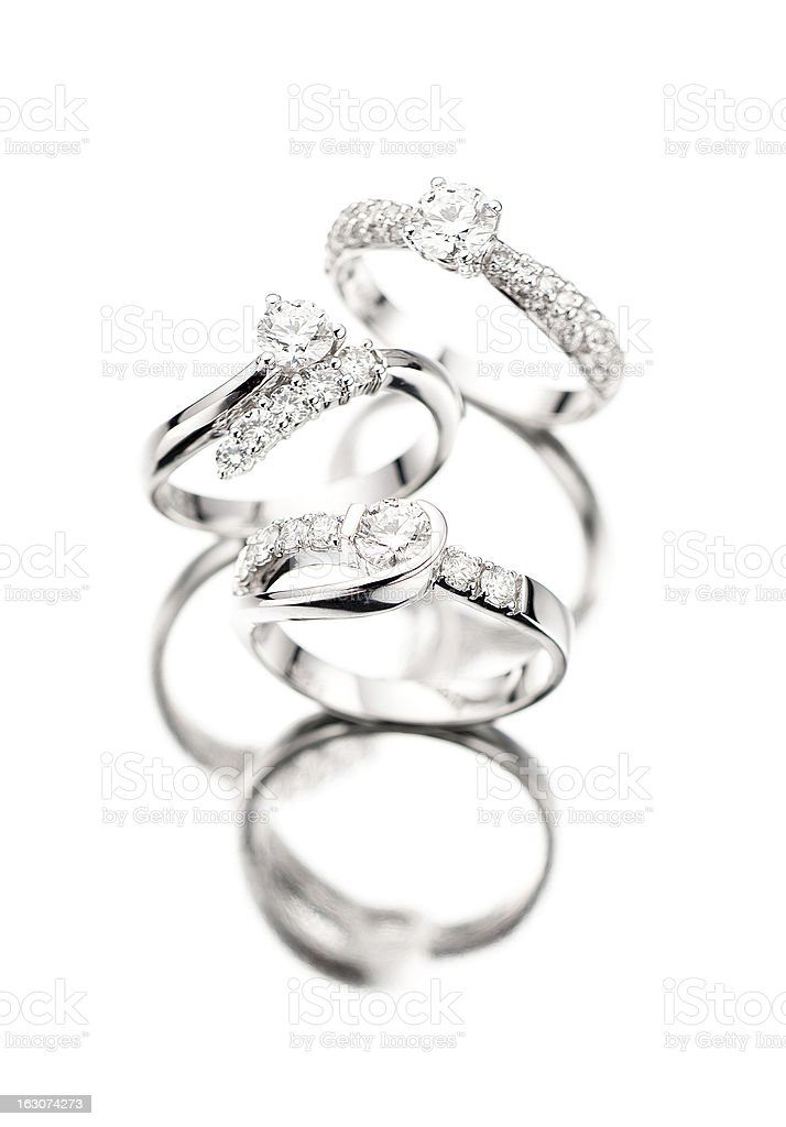 diamond rings with reflection royalty-free stock photo