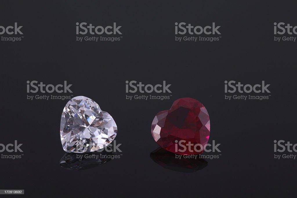 Diamond & Ruby Heart Shape Stone stock photo