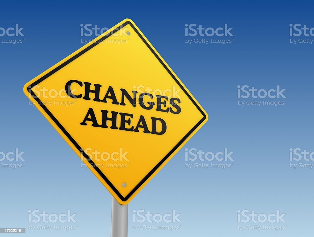 Diamond shaped, yellow sign warning of changes in the future royalty-free stock photo