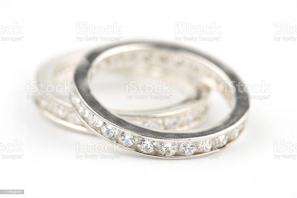 diamond silver rings stock photo
