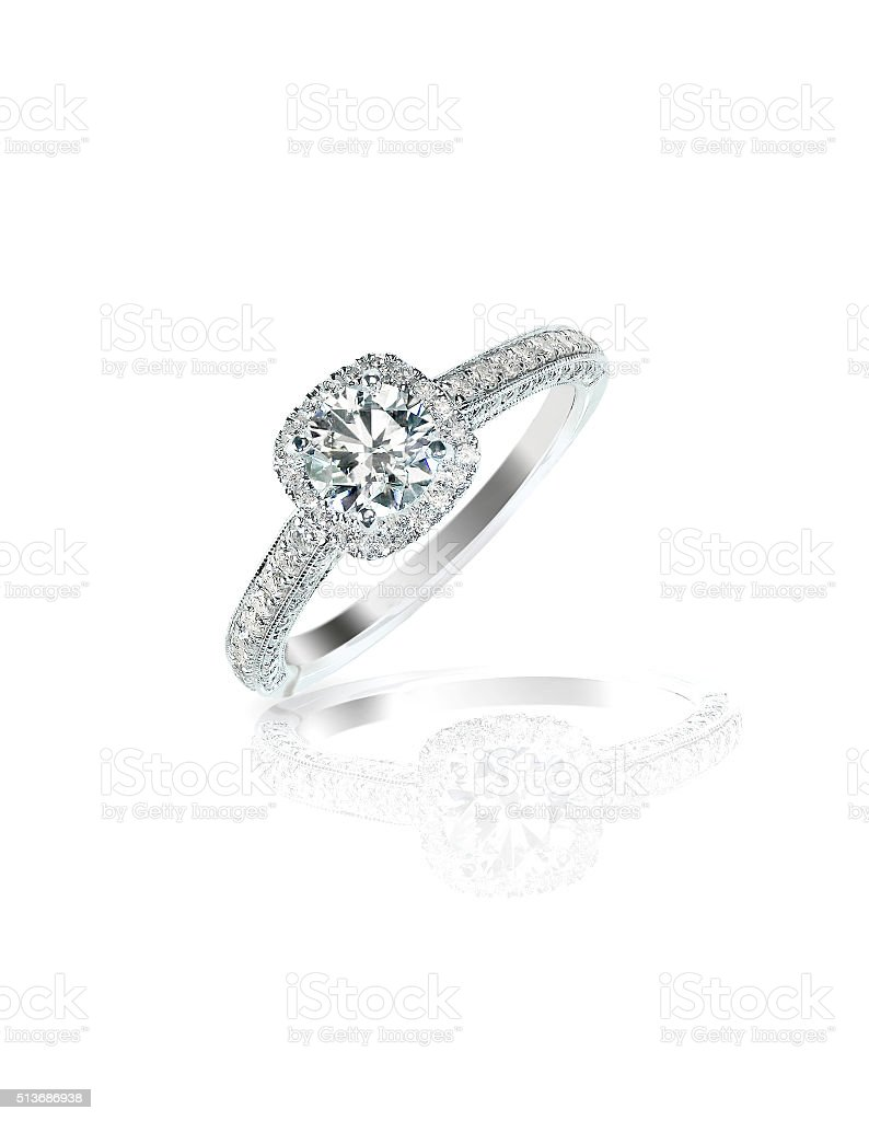 Diamond solitaire engagement wedding ring round brilliant stock photo