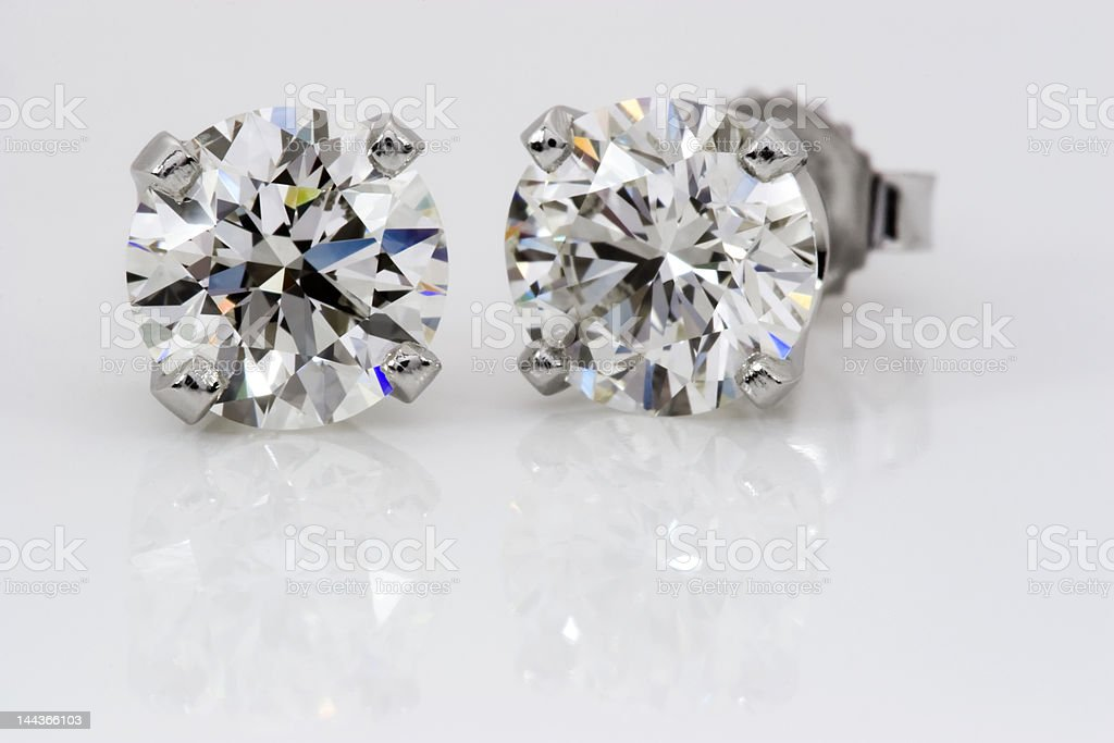 Diamond Stud Earrings stock photo