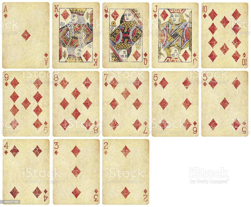 Diamond Suit of Vintage Playing Cards stock photo