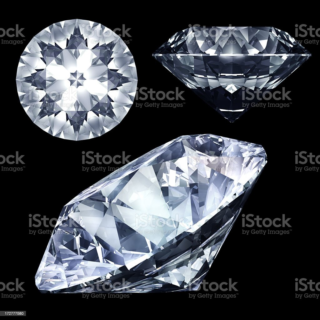 Diamond three view stock photo