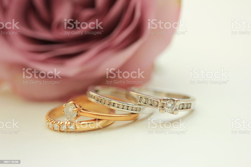 Diamond wedding bands stock photo