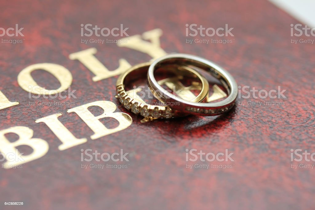 Diamond wedding bands stock photo