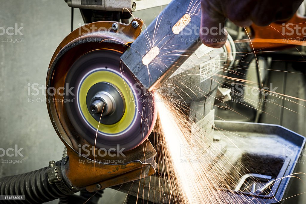 Diamond wheel grinder sparks royalty-free stock photo