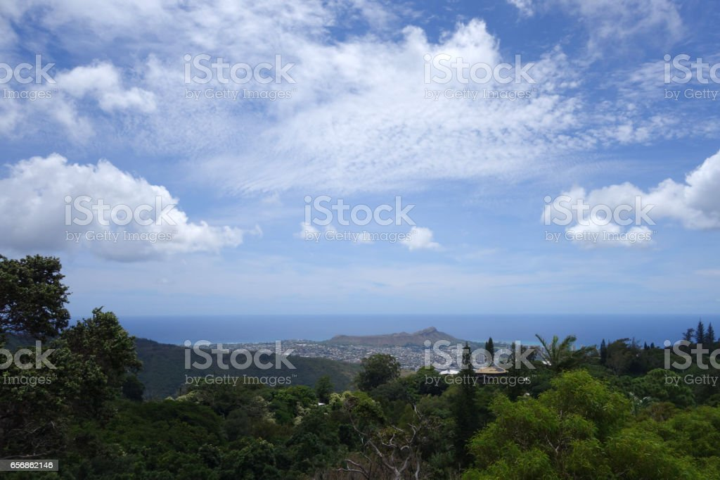 Diamondhead and the city of Honolulu, Kaimuki, Kahala, and oceanscape stock photo