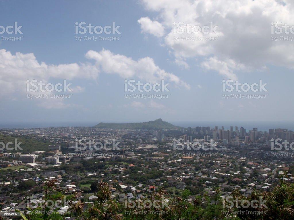 Diamondhead and the city of Honolulu on Oahu on a nice day stock photo