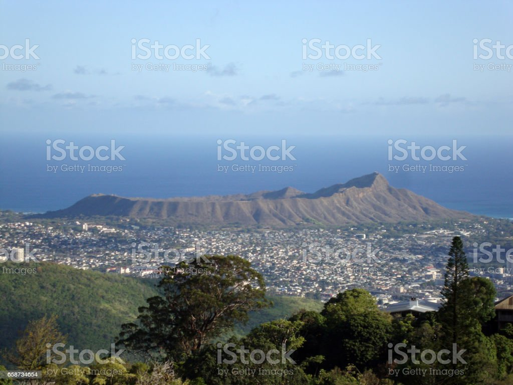 Diamondhead and the city of Honolulu on Oahu on a nice day viewed from high in the mountains stock photo