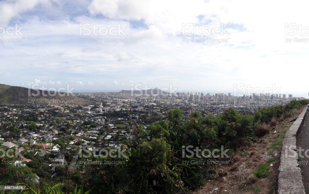 Diamondhead and the city of Honolulu on Oahu panoramic stock photo
