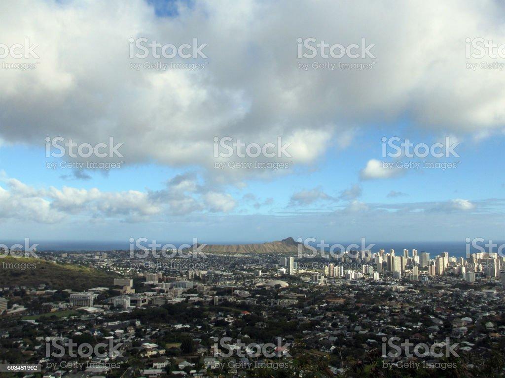 Diamondhead and the city of Honolulu on Oahu stock photo