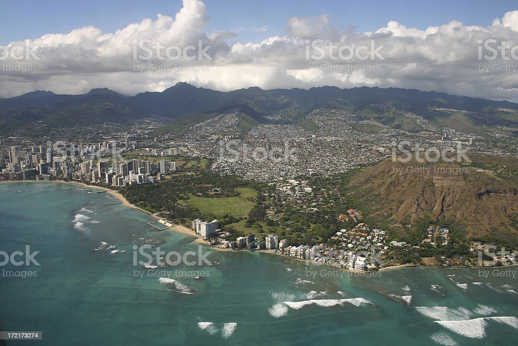 Diamondhead & Waikiki royalty-free stock photo