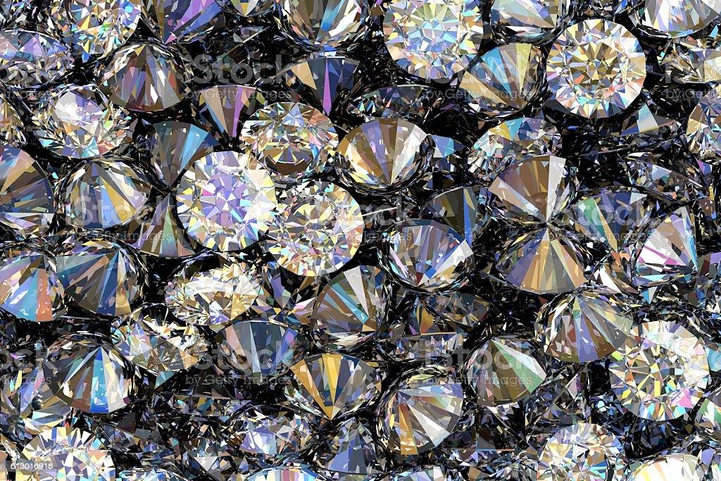 Diamonds 3D render stock photo