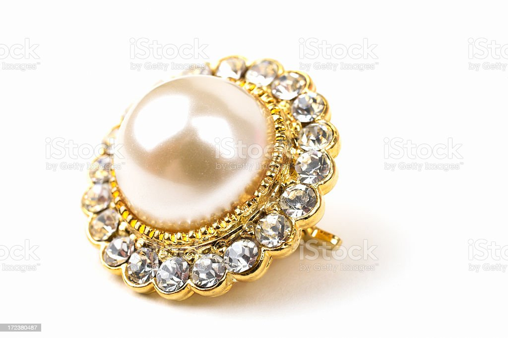 Diamonds and a pearl royalty-free stock photo