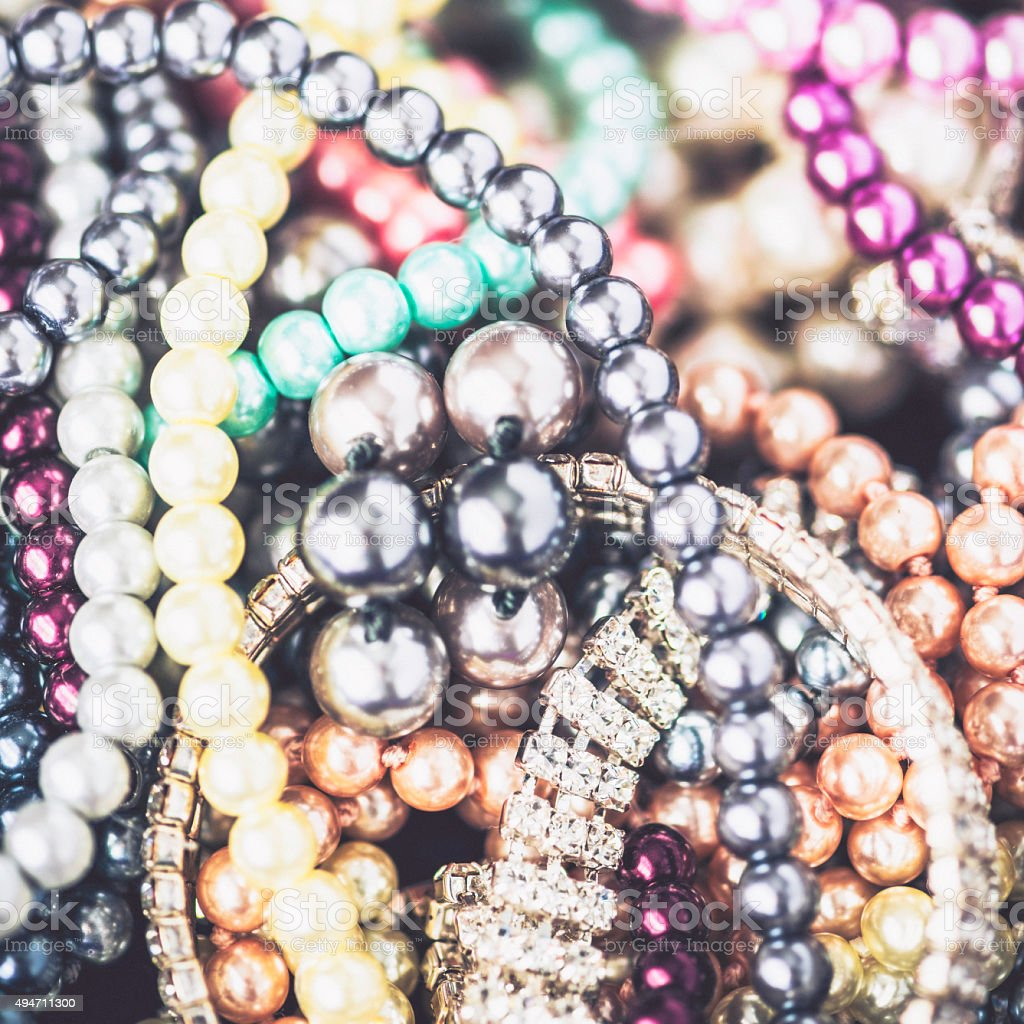 Diamonds and pearls jewelry collection stock photo