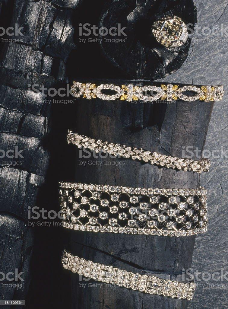 Diamonds & charcoal. royalty-free stock photo