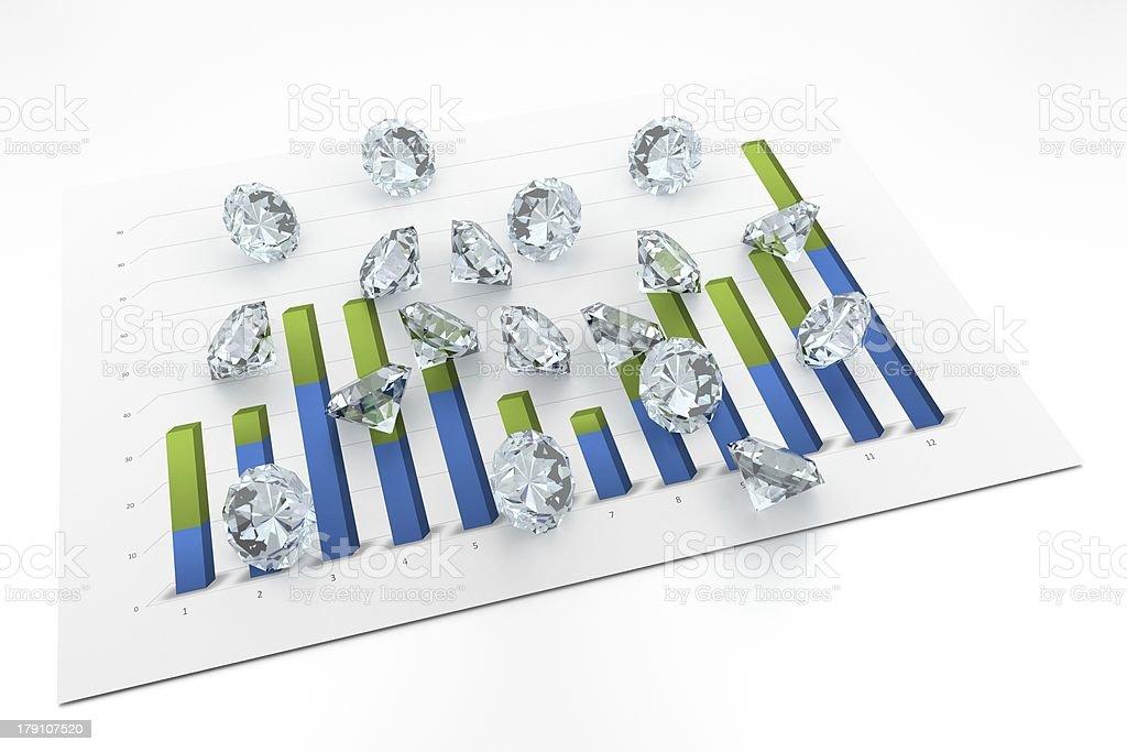 3D Diamonds - Chart royalty-free stock photo