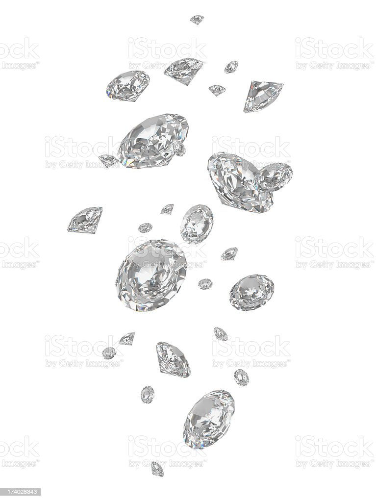 Diamonds Falling stock photo